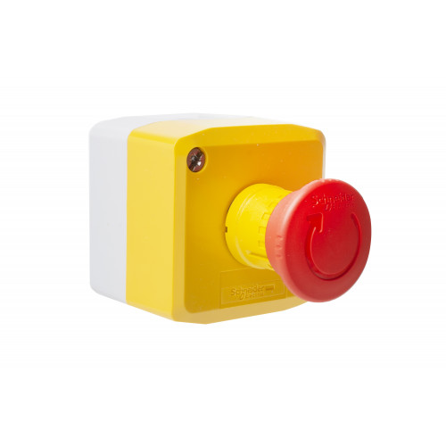 Schneider Electric, XALK178, Emergency Stop Control Station, Yellow Plastic Lid, Light Grey Base 1 x Turn To Release 40mm Red Mushroom Head, 1 x N/C Contact
