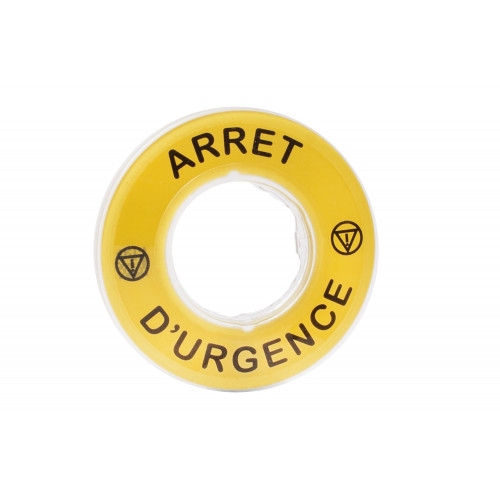 Schneider Electric, ZBY9120, Harmony XB4, Legend 60mm Ø For Emergency Stop, (French) Marked ARRET D'URGENCE / Logo ISO13850, Yellow
