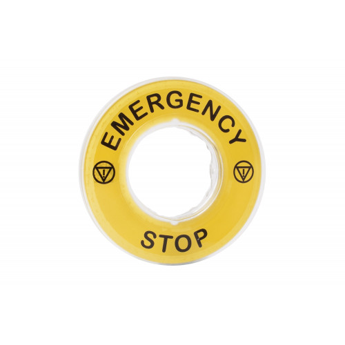 Schneider Electric, ZBY9320, Harmony XB4, Legend 60mm Ø For Emergency Stop Mushroom Head Pushbutton, Marked EMERGENCY STOP / LOGO ISO13850, Yellow