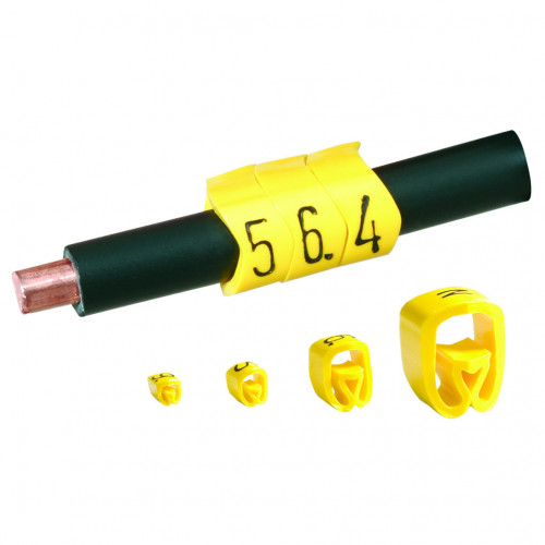 Partex, PA02/3, Black On Yellow Marker, Numbered 6, To Suit Tri Rated 0.5-0.75mm Or Cables With 1.3-3.0mm Ø, Pack of 200